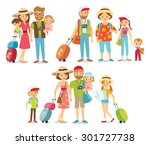 traveling family on vacation | Shutterstock .eps vector #301727738