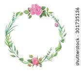 spring green watercolor wreath... | Shutterstock . vector #301735136
