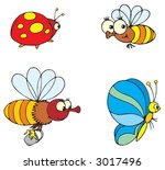 ladybird  butterfly and bee | Shutterstock .eps vector #3017496