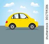 yellow car. vector illustration ... | Shutterstock .eps vector #301759286