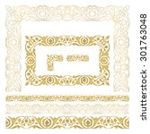seamless floral tiling borders...   Shutterstock .eps vector #301763048