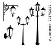 graphic vintage street lantern... | Shutterstock .eps vector #301763312