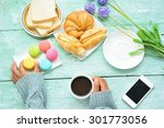female hand hold cup of coffee... | Shutterstock . vector #301773056