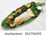 meals served on banana leaf ... | Shutterstock . vector #301796555