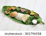 meals served on banana leaf ... | Shutterstock . vector #301796558