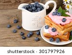 fresh biscuits with bilberry... | Shutterstock . vector #301797926