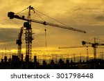 silhouette of construction site ... | Shutterstock . vector #301798448