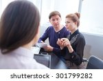 three businessmen discussing... | Shutterstock . vector #301799282