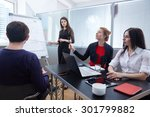 a group of businessmen in a... | Shutterstock . vector #301799882