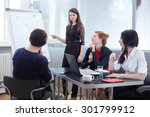 a group of businessmen in a... | Shutterstock . vector #301799912