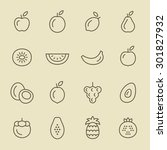 fruits icon set | Shutterstock .eps vector #301827932