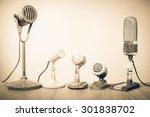retro old microphones for press ... | Shutterstock . vector #301838702