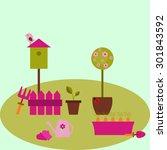 pink spring garden in vector | Shutterstock .eps vector #301843592