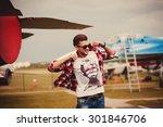 stylish man wears a shirt on...   Shutterstock . vector #301846706
