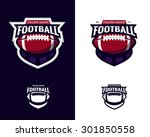 Set of colorful college american football logo labels with bonus black and white versions. Vector abstract illustration.