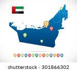united arab emirates map with... | Shutterstock .eps vector #301866302