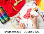 fashion designer working in... | Shutterstock . vector #301869428