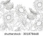 Hand Drawn Sunflowers And...