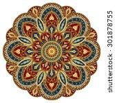 ornate  eastern mandala with... | Shutterstock .eps vector #301878755