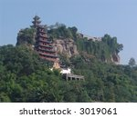 Ancient Temple on the Yangtze River in China, the Precious Stone Pagoda - stock photo