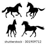 running horse silhouette set | Shutterstock .eps vector #301909712