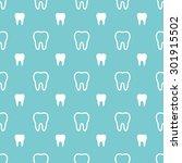 white teeth on turquoise... | Shutterstock .eps vector #301915502