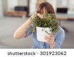 young office woman peeking... | Shutterstock . vector #301923062