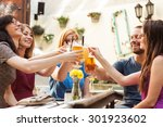 friends having fun at the bar... | Shutterstock . vector #301923602