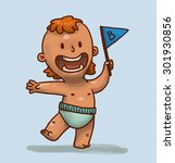 funny boy holding a blue flag ... | Shutterstock .eps vector #301930856