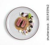 medium rare steak with mushroom ... | Shutterstock . vector #301935962