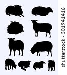sheep   lamb silhouette set | Shutterstock .eps vector #301941416