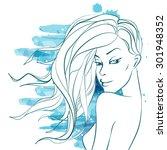 beautiful fashion women | Shutterstock .eps vector #301948352