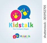 kids talk vector logo template. | Shutterstock .eps vector #301952705