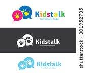 kids talk vector logo template. | Shutterstock .eps vector #301952735