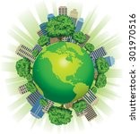 green globe of the world  with... | Shutterstock . vector #301970516