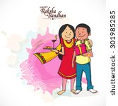cute brother and sister... | Shutterstock .eps vector #301985285