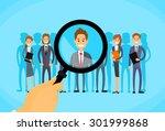 recruitment hand zoom... | Shutterstock .eps vector #301999868