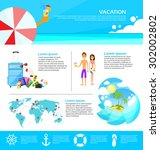 beach summer vacation tourism... | Shutterstock .eps vector #302002802