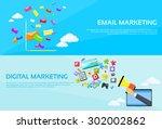 digital marketing email laptop... | Shutterstock .eps vector #302002862