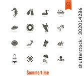 summer and beach simple flat... | Shutterstock .eps vector #302014286