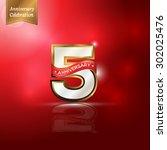 5 years anniversary gold | Shutterstock .eps vector #302025476
