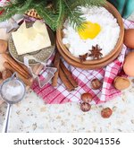 the ingredients for christmas...   Shutterstock . vector #302041556