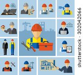 engineer architect construction ... | Shutterstock .eps vector #302042066