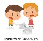 kids activity. giving a bone to ... | Shutterstock .eps vector #302042192