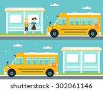 schoolboy and schoolgirl... | Shutterstock .eps vector #302061146