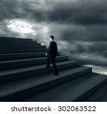 businessman climbing on stairs... | Shutterstock . vector #302063522