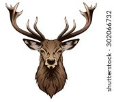 deer head illustration | Shutterstock .eps vector #302066732