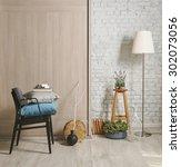white brick wall interior style ... | Shutterstock . vector #302073056
