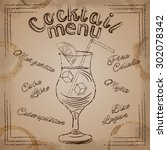 brown lettering cocktail menu... | Shutterstock .eps vector #302078342