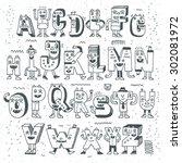 fantastic funny alphabet. wacky ... | Shutterstock .eps vector #302081972